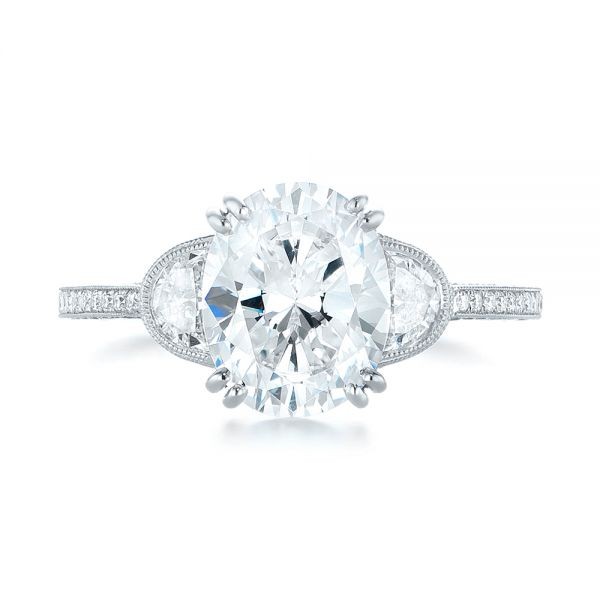 14k White Gold 14k White Gold Three-stone Diamond Engagement Ring - Top View -  103774