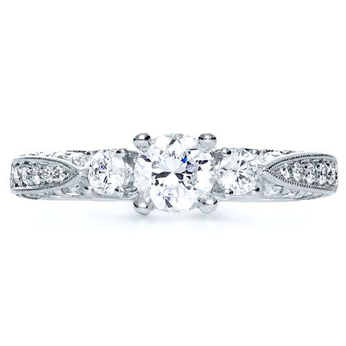 18k White Gold Three Stone Diamond Engagement Ring - Top View -