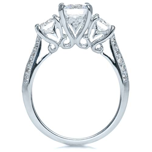 Three Stone Diamond Engagement Ring - Finger Through View