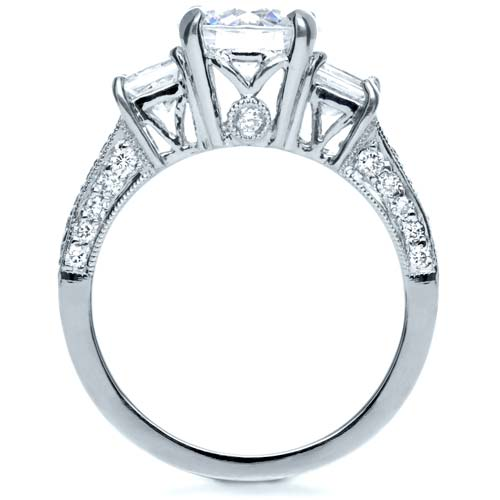 Three Stone Diamond Engagement Ring - Front View -  208 - Thumbnail