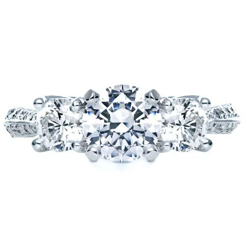 Three Stone Diamond Engagement Ring - Top View