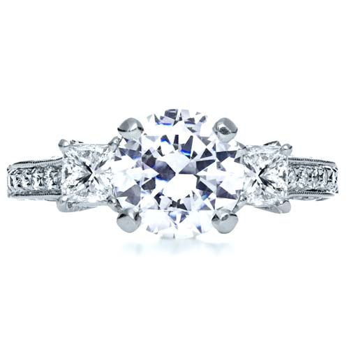Three Stone Diamond Engagement Ring - Top View -  208 - Thumbnail