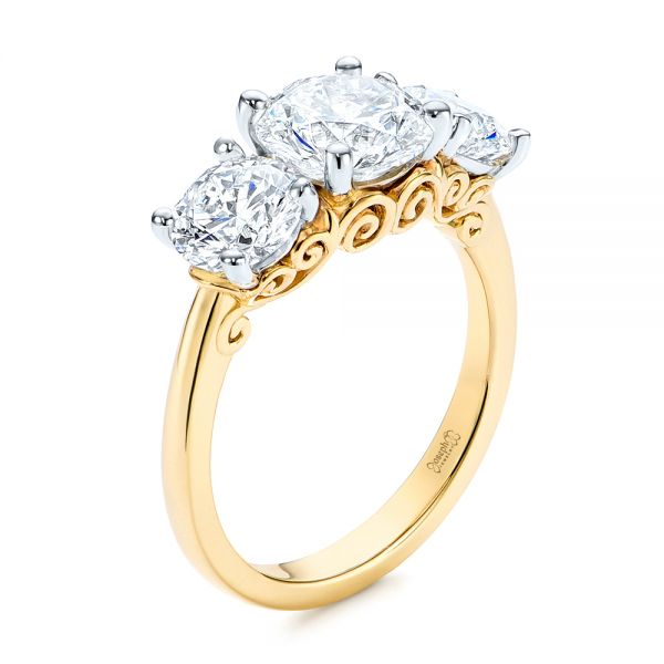 Three Stone Filigree Diamond Engagement Ring - Image