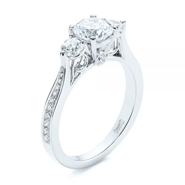 Three Stone Filigree Peekaboo Diamond Engagement Ring - Image