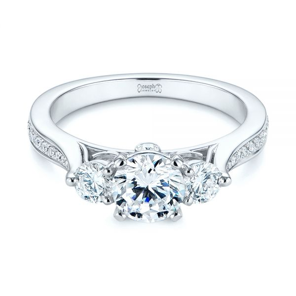 Three Stone Filigree Peekaboo Diamond Engagement Ring
