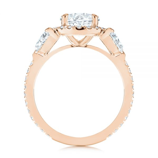 14k Rose Gold 14k Rose Gold Three Stone Half Moon Diamond Halo Engagement Ring - Front View -  105184
