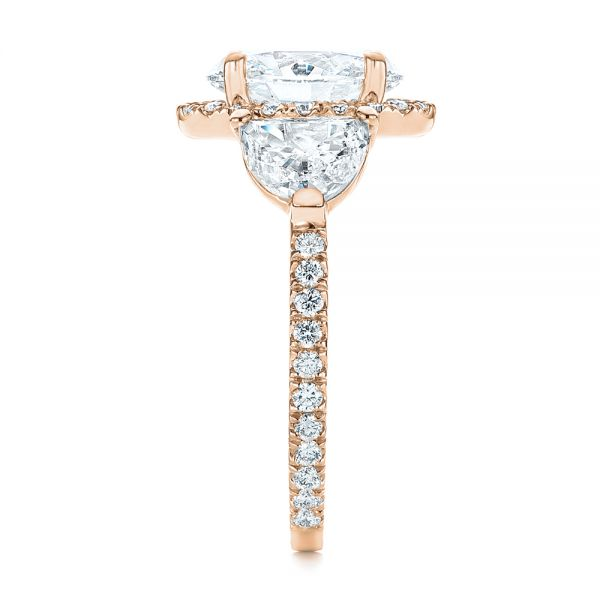 14k Rose Gold 14k Rose Gold Three Stone Half Moon Diamond Halo Engagement Ring - Side View -  105184