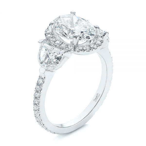 Three Stone Half Moon Diamond Halo Engagement Ring - Image
