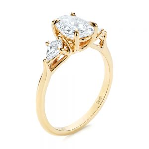 Three Stone Kite Diamond Engagement Ring - Image