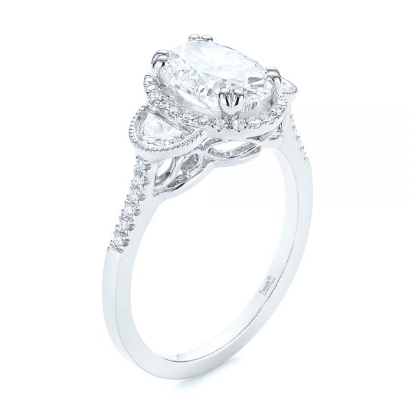 Three-Stone Oval and Half Moon Diamond Engagement Ring