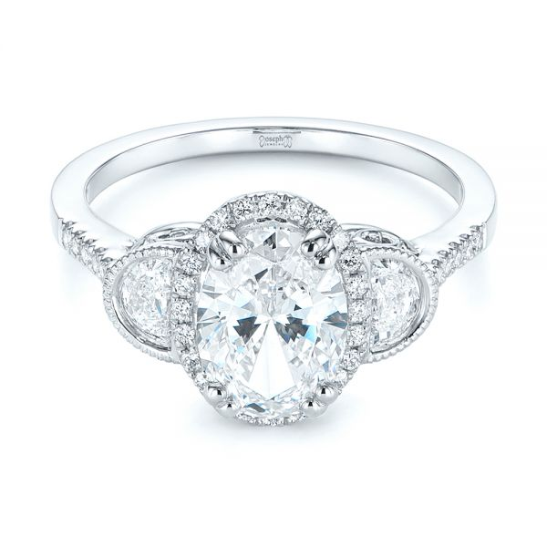 14k White Gold Three-stone Oval And Half Moon Diamond Engagement Ring - Flat View -  105118 - Thumbnail