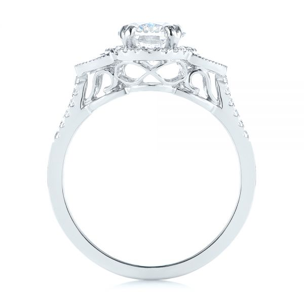 14k White Gold Three-stone Oval And Half Moon Diamond Engagement Ring - Front View -  105118 - Thumbnail