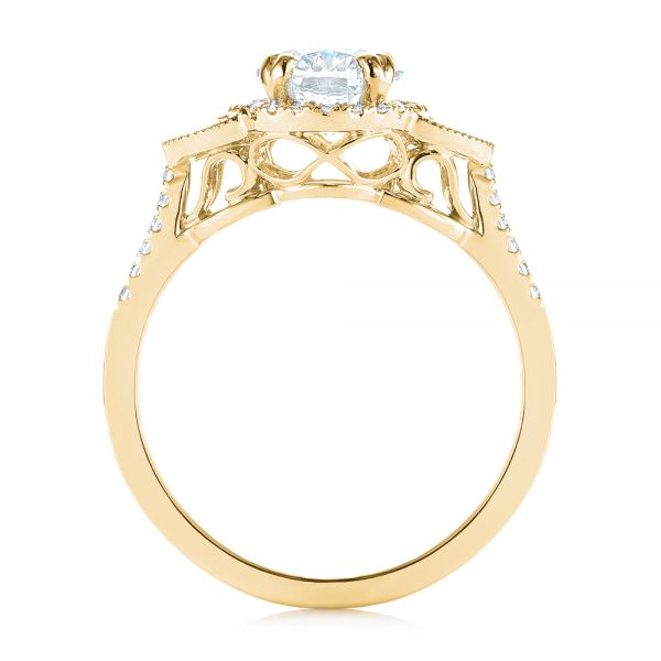 14K Yellow Gold Three-Stone Oval and Half Moon Diamond Engagement Ring - Front View -  105118 - Thumbnail