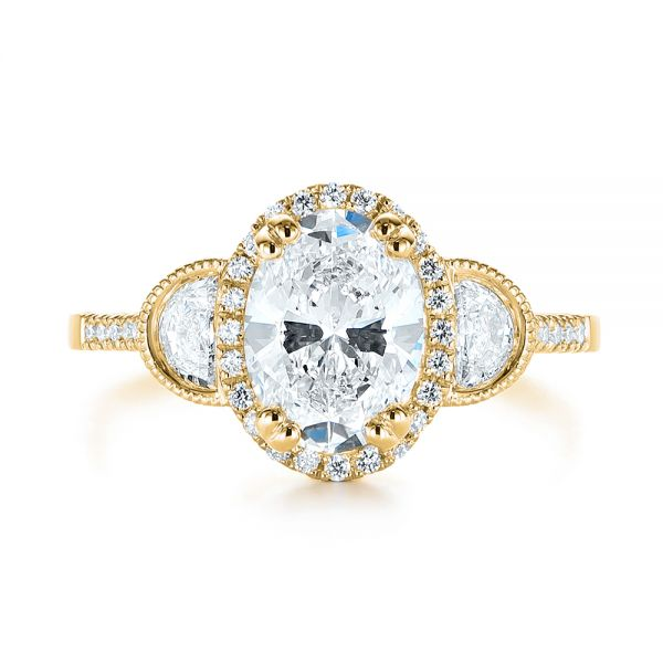 14K Yellow Gold Three-Stone Oval and Half Moon Diamond Engagement Ring - Top View -  105118 - Thumbnail