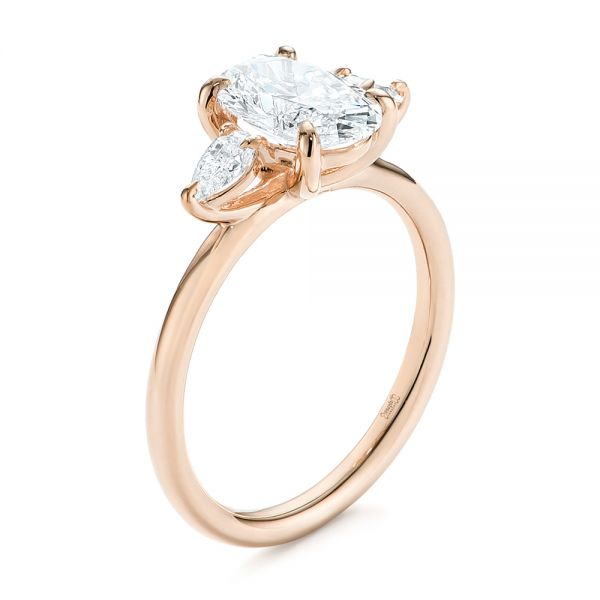 18K Rose Gold Three Stone Oval and Pear Diamond Engagement Ring - Three-Quarter View -  105122 - Thumbnail