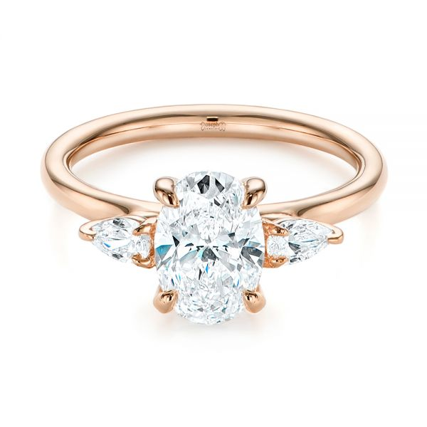 18K Rose Gold Three Stone Oval and Pear Diamond Engagement Ring - Flat View -  105122 - Thumbnail