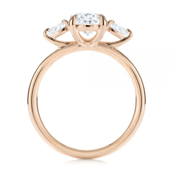18K Rose Gold Three Stone Oval and Pear Diamond Engagement Ring - Front View -  105122 - Thumbnail
