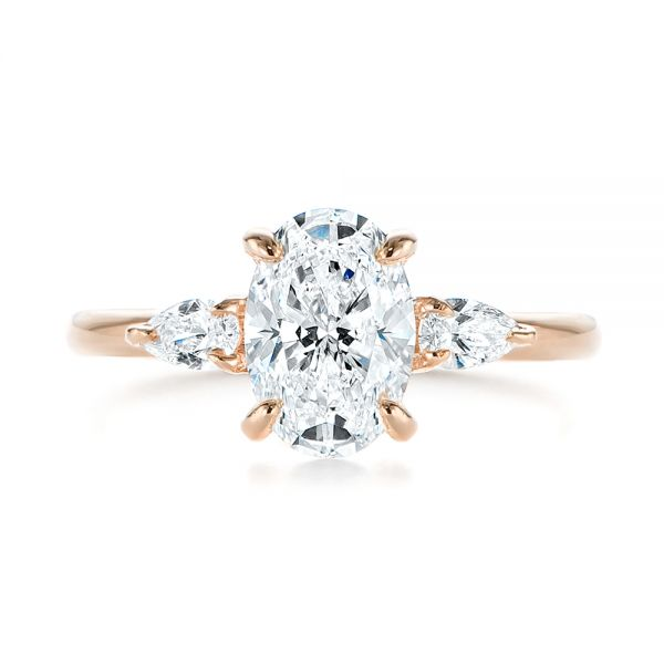 18K Rose Gold Three Stone Oval and Pear Diamond Engagement Ring - Top View -  105122 - Thumbnail