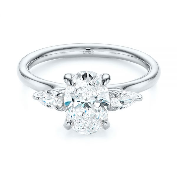 Three Stone Oval and Pear Diamond Engagement Ring