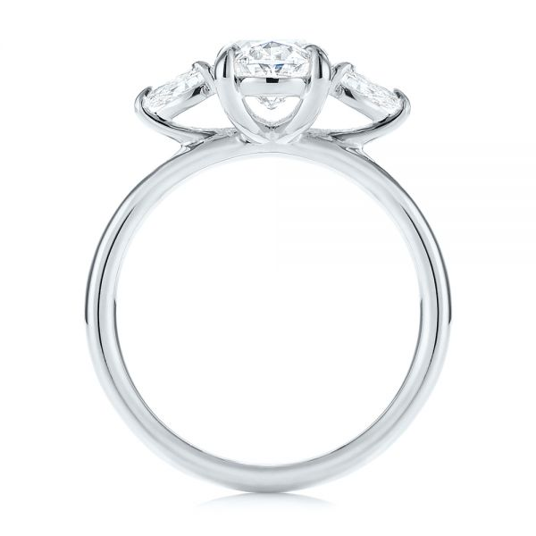 18K White Gold Three Stone Oval and Pear Diamond Engagement Ring - Front View -  105122 - Thumbnail