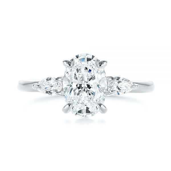 18K White Gold Three Stone Oval and Pear Diamond Engagement Ring - Top View -  105122 - Thumbnail