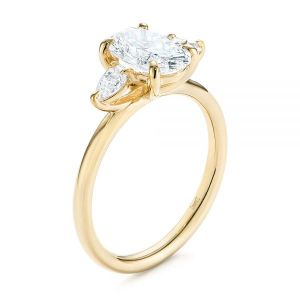 Three Stone Oval and Pear Diamond Engagement Ring - Image