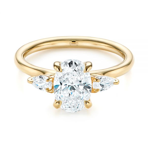 14k Yellow Gold Three Stone Oval And Pear Diamond Engagement Ring - Flat View -  105122 - Thumbnail