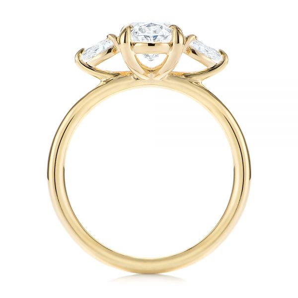 14k Yellow Gold Three Stone Oval And Pear Diamond Engagement Ring - Front View -  105122 - Thumbnail
