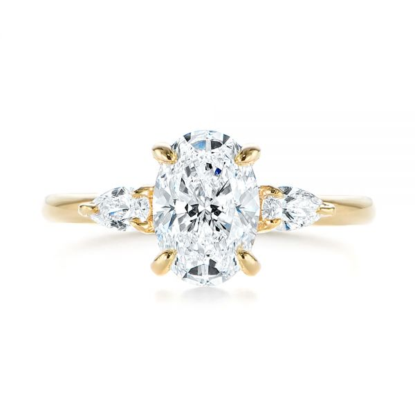 14k Yellow Gold Three Stone Oval And Pear Diamond Engagement Ring - Top View -  105122 - Thumbnail