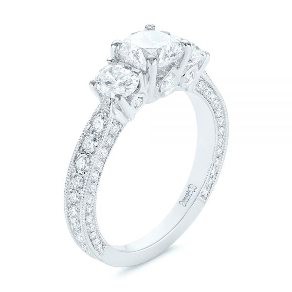 Three Stone Oval and Round Diamond Engagement Ring - Image