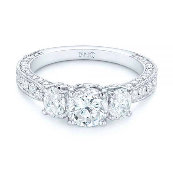 18k White Gold Three Stone Oval And Round Diamond Engagement Ring - Flat View -