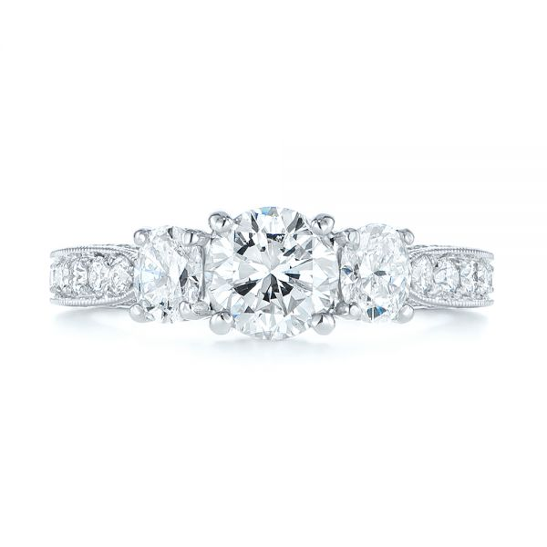 18k White Gold Three Stone Oval And Round Diamond Engagement Ring - Top View -