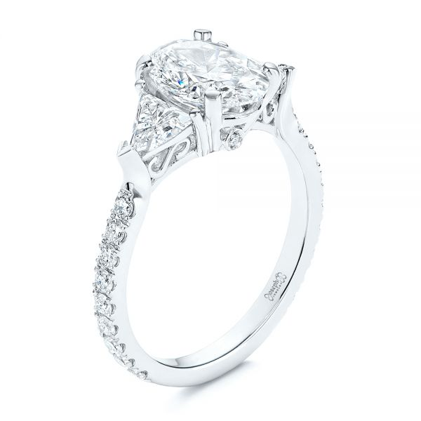 Three Stone Oval and Trillion Diamond Engagement Ring - Image