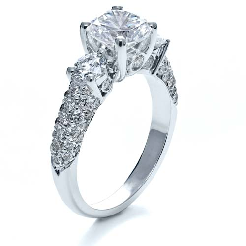 Three Stone Pave Diamond Engagement Ring