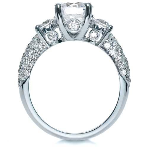 Three Stone Pave Diamond Engagement Ring - Finger Through View