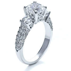 Three Stone Pave Diamond Engagement Ring