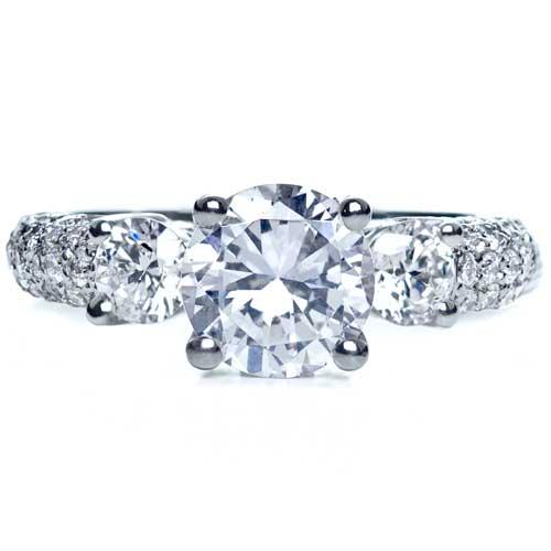Three Stone Pave Diamond Engagement Ring - Top View