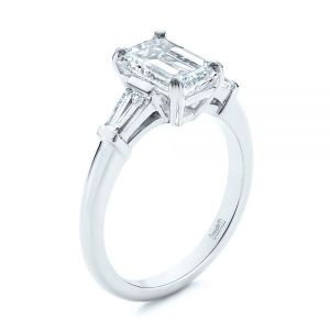Three Stone Tapered Baguette Diamond Engagement Ring - Image