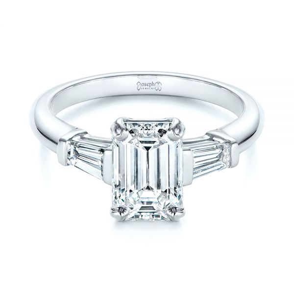 Platinum Three Stone Tapered Baguette Diamond Engagement Ring - Flat View -  105742 - Thumbnail
