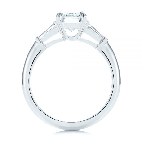 Platinum Three Stone Tapered Baguette Diamond Engagement Ring - Front View -  105742 - Thumbnail