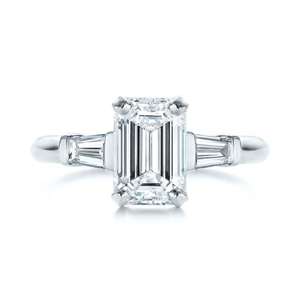 Platinum Three Stone Tapered Baguette Diamond Engagement Ring - Top View -  105742 - Thumbnail