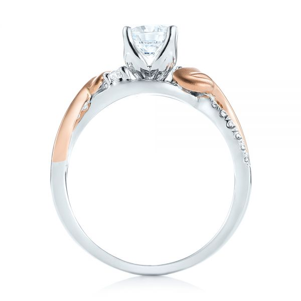 Three-Stone Two-Tone Diamond Engagement Ring - Front View -  103105 - Thumbnail