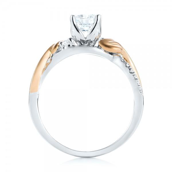 Three-Stone Two-Tone Diamond Engagement Ring - Finger Through View