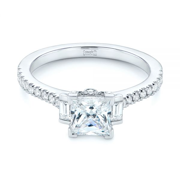 Three-stone Baguette Diamond Engagement Ring - Flat View -  105072 - Thumbnail