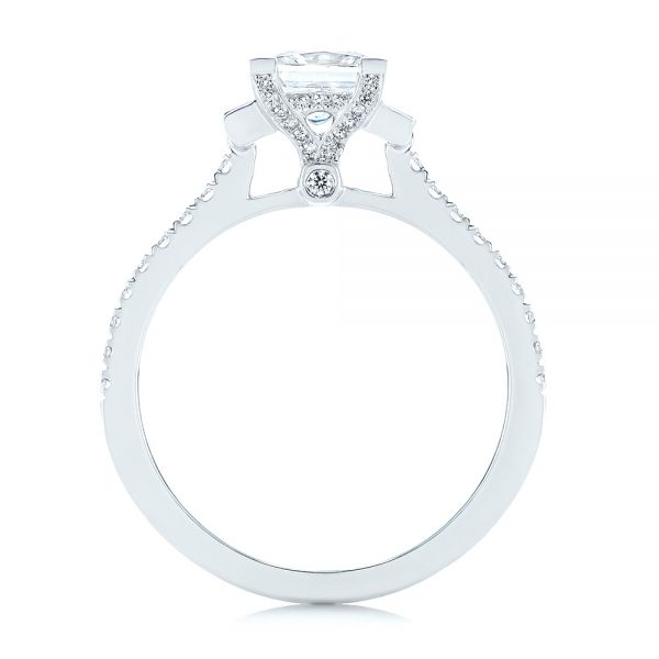 Three-stone Baguette Diamond Engagement Ring - Front View -  105072 - Thumbnail