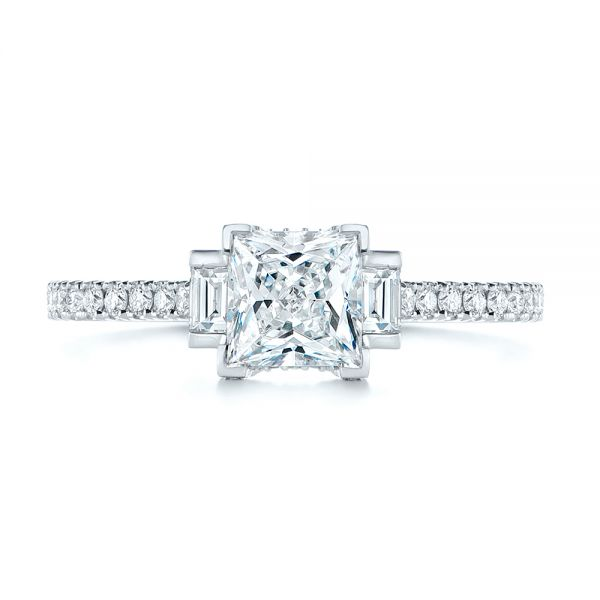 Three-stone Baguette Diamond Engagement Ring - Top View -  105072 - Thumbnail