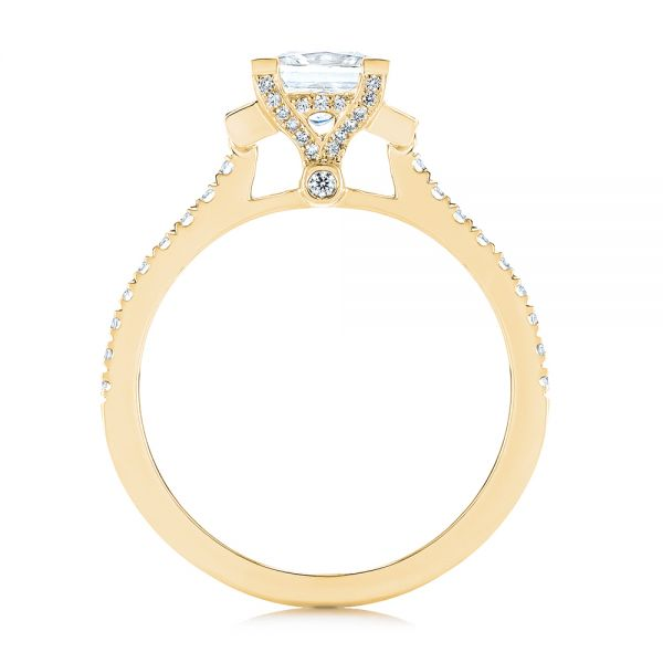18k Yellow Gold 18k Yellow Gold Three-stone Baguette Diamond Engagement Ring - Front View -  105072 - Thumbnail