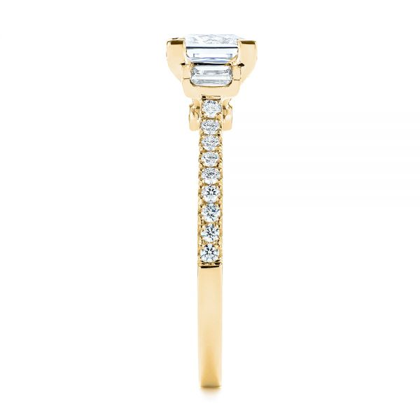 18k Yellow Gold 18k Yellow Gold Three-stone Baguette Diamond Engagement Ring - Side View -  105072 - Thumbnail