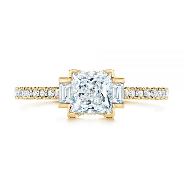 18k Yellow Gold 18k Yellow Gold Three-stone Baguette Diamond Engagement Ring - Top View -  105072 - Thumbnail