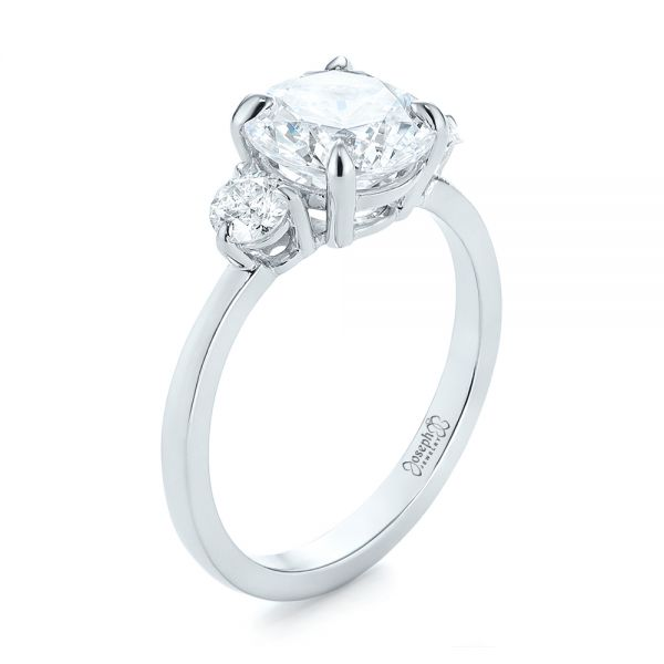 Three-stone Diamond Engagement Ring - Three-Quarter View -  104169 - Thumbnail
